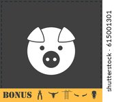 pig icon flat. simple vector... | Shutterstock .eps vector #615001301