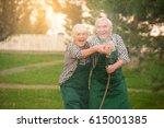 senior couple having fun.... | Shutterstock . vector #615001385