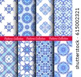 blue flower patterns. seamless... | Shutterstock .eps vector #615002321