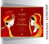 wedding invitation card... | Shutterstock .eps vector #615007409