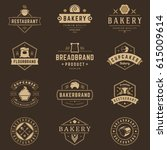 bakery shop logos templates set.... | Shutterstock .eps vector #615009614