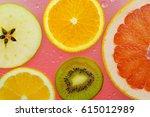 orange grapefruit  and kiwi... | Shutterstock . vector #615012989