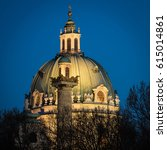 dome of karlskirche at blue... | Shutterstock . vector #615014861