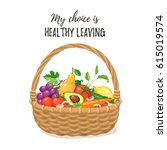 bamboo basket with natural and... | Shutterstock .eps vector #615019574