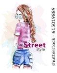 fashion beautiful woman in...   Shutterstock .eps vector #615019889