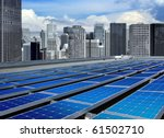 solar panels on the roof of... | Shutterstock . vector #61502710