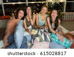 outgoing ladies watching cinema ... | Shutterstock . vector #615028817
