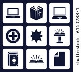 book icon. set of 9 filled book ...   Shutterstock .eps vector #615028871