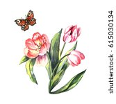 watercolor tulips and butterfly.... | Shutterstock . vector #615030134