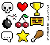 Set of minimalistic pixel art vector objects isolated. game 8 bit style. minimalistic pixel graphic symbols group collection. skull, heart, goblet, bomb, cherry, chest, phrase, star, food.
