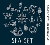 hand drawn doodle sea set... | Shutterstock .eps vector #615042491