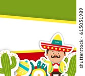 template cards for the mexican... | Shutterstock .eps vector #615051989