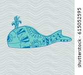 hand drawing doodle whale in... | Shutterstock .eps vector #615052595