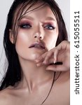 fashion stylish beauty portrait....   Shutterstock . vector #615055511