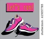 pair of pink sneakers. vector... | Shutterstock .eps vector #615057785
