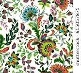 hand drawn flower seamless...   Shutterstock .eps vector #615057875