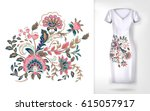 embroidery colorful trend... | Shutterstock .eps vector #615057917