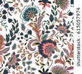 hand drawn flower seamless... | Shutterstock .eps vector #615057974