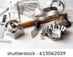 bakery utensils. kitchen tools... | Shutterstock . vector #615062039