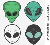 alien face icon set  humanoid... | Shutterstock .eps vector #615065357