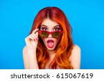 surprised shocked girl with... | Shutterstock . vector #615067619