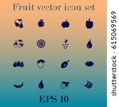 fruit vector icon set | Shutterstock .eps vector #615069569