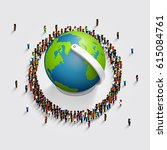 people surrounded the globe. 3d ... | Shutterstock .eps vector #615084761