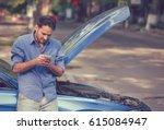 Upset Young Man Calling Texting ...