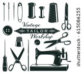 vintage tailor elements set... | Shutterstock .eps vector #615086255