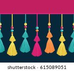 vector colorful trim decorative ... | Shutterstock .eps vector #615089051
