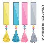 vector set of ribbons with... | Shutterstock .eps vector #615089075