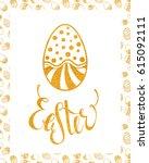 easter handdrawn gold textured... | Shutterstock .eps vector #615092111