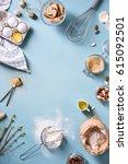 bakery background frame. fresh...   Shutterstock . vector #615092501