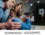 pleasant cheerful man helping... | Shutterstock . vector #615109907
