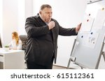 Small photo of Tireless office worker having a fit of coughing