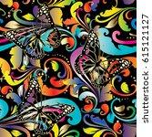paisleys vector seamless... | Shutterstock .eps vector #615121127