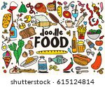 food and drink  doodles... | Shutterstock .eps vector #615124814
