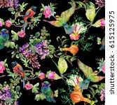 watercolor hand drawn seamless... | Shutterstock . vector #615125975