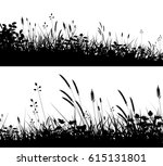 two editable vector silhouettes ... | Shutterstock .eps vector #615131801
