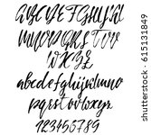 hand drawn font. modern dry... | Shutterstock .eps vector #615131849