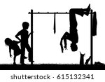 editable vector silhouette of a ... | Shutterstock .eps vector #615132341