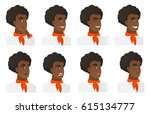 african american widely smiling ... | Shutterstock .eps vector #615134777