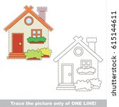 toy home. dot to dot... | Shutterstock .eps vector #615144611