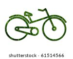 ecological transportation concept: bicycle frame from grass texture - stock photo
