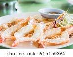 close up grilled shrimp  thai... | Shutterstock . vector #615150365