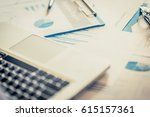 many charts and graphs with pen ... | Shutterstock . vector #615157361
