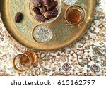 arabic food and drink. a tray... | Shutterstock . vector #615162797