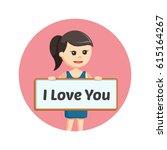 girl holding i love you board... | Shutterstock .eps vector #615164267