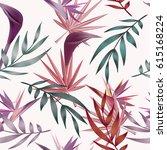 tropical flowers  jungle leaves ... | Shutterstock .eps vector #615168224
