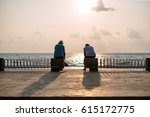couple enjoy with sunset on the ... | Shutterstock . vector #615172775